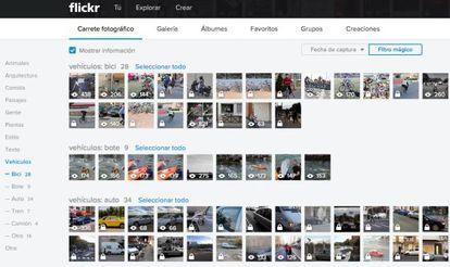 Pantalla para la gestión de fotos de Flickr.