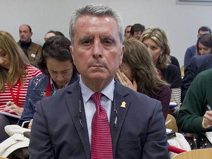 José Ortega Cano durante la celebración del juicio por el accidente mortal en Sevilla en 2013.