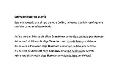 Muestra de los tipos de letra por defecto que estudia implantar Microsoft.
