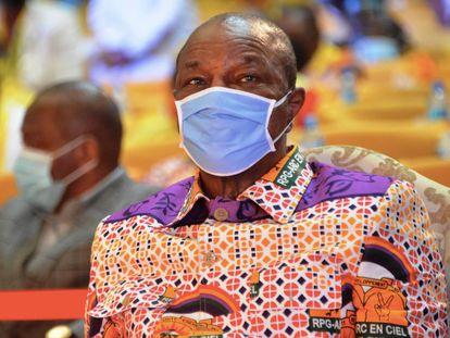 El presidente guineano, Alpha Condé, durante el congreso de su partido en Conakri este 6 de agosto.