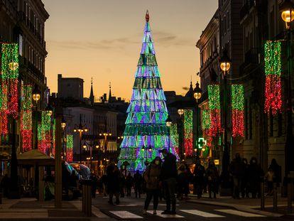 Luces de Navidad de 2020 en el centro de Madrid.