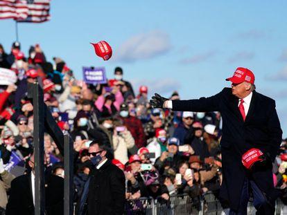 El presidente de Estados Unidos, Donald Trump, durante un mitin en Pensilvania este lunes.