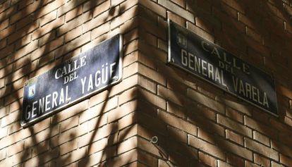 Cruce de las calles de los generales Yagüe y Varela.