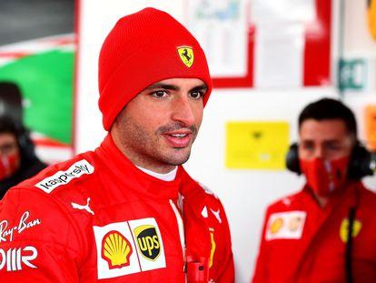 Carlos Sainz en su estreno con Ferrari