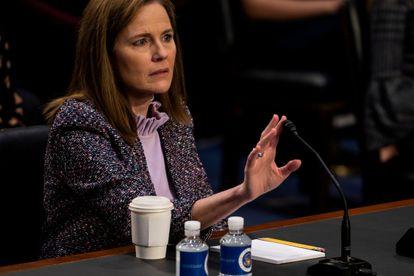 La juez Barrett, durante su confirmación en el Senado.