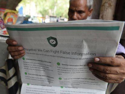 Puiblicidad a toda página de WhatsApp para anunciar su nuevo servicio para combatir las 'Fake News'