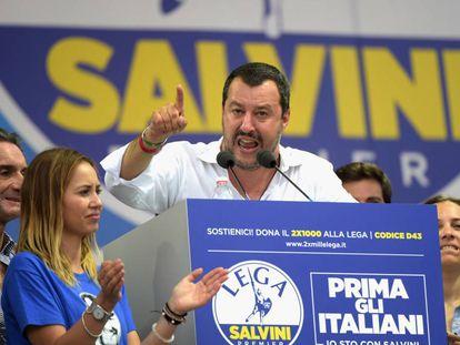 Salvini durante un mitin.