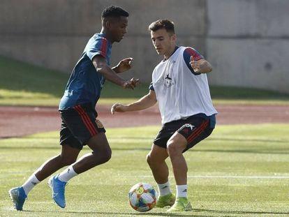 Ansu Fati entrena con Pepelu en Las Rozas. En vídeo, imágenes de la preparación.
