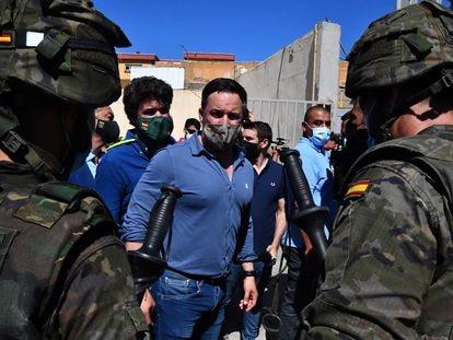 El líder de Vox, Santiago Abascal, durante su visita a Ceuta en mayo.