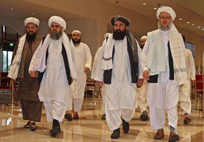 Una delegación de talibanes, en un hotel de Doha, en Qatar, el 12 de agosto.