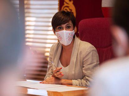 La nueva ministra de Política Territorial y portavoz del Gobierno, Isabel Rodríguez, en el pleno en que renunció como alcaldesa de Puertollano (Ciudad Real).