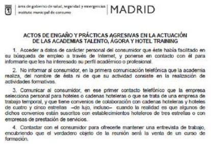Informe del Ayuntamiento de Madrid sobre las academias.