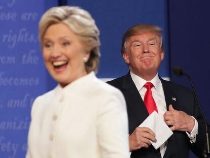 Hillary Clinton y Donald Trump en Las Vegas, Nevada, durante un debate de las elecciones presidenciales de 2016.