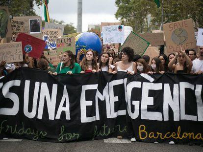 Manifestantes en Barcelona durante la Huelga por el Clima.