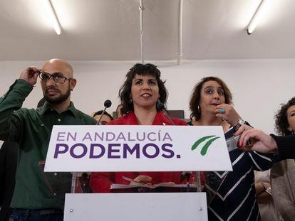 La portavoz de Adelante Andalucía, Teresa Rodríguez, en una rueda de prensa en febrero de 2020.