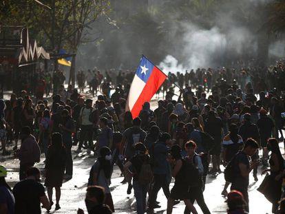 Una protesta en Santiago de Chile.