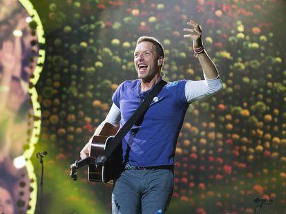 El cantante de Coldplay, Chris Martin, en un concierto en Toronto en agosto.