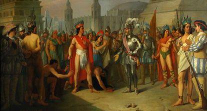 Apresamiento del último emperador de México por Hernán Cortés, en el Museo del Prado.
