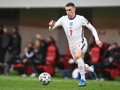 Foden durante un partido de la selección inglesa.