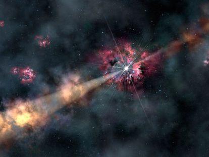 Ilustración de los chorros del estallido de rayos gamma, de hacer 12.700 millones de años, que iluminan la galaxia que lo aloja.