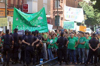 Manifestación de profesores ante el instituto Fernando el Católico el pasado septiembre.