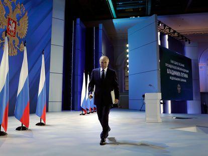 El presidente ruso, Vladímir Putin, tras su discurso sobre el estado de la nación ante la Asamblea Federal, este miércoles en Moscú.