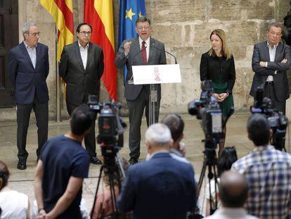 El presidente de la Generalitat, Ximo Puig, durante la presentación del informe.