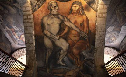 Hernán Cortés y La Malinche, en un mural de José Clemente Orozco en el antiguo Colegio de San Ildefonso, en Ciudad de México