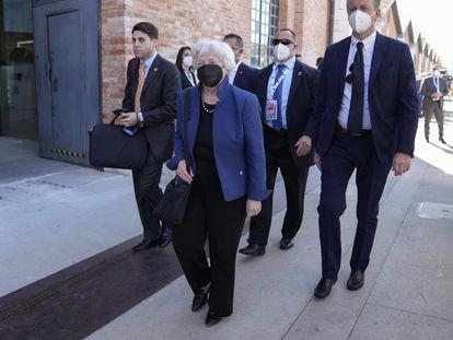 La secretaria del Tesoro de EE UU, Janet Yellen, a su llegada a Venecia para la reunión del G-20, este viernes.