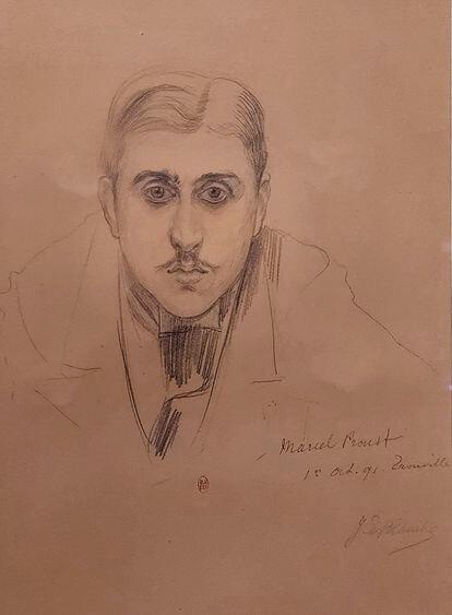 Marcel Proust, retratado por Jacques-Émile Blanche, una de las obras de Villa del Tiempo Recobrado, en Cabourg.