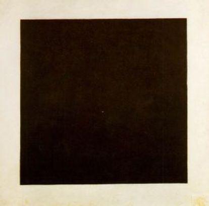 'Cuadrado negro' (versión de 1929),obra estrella de la exposición del museo Stedelijk. Abajo, Leñador (1912), pintura temprana de Kasimir Malévich.