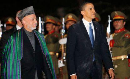 Hamid Karzai y Barack Obama.
