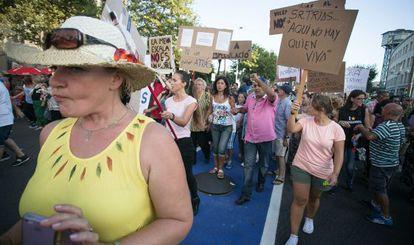 Manifestación en la Barceloneta contra los apartamentos turísticos.
