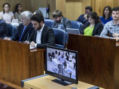 Granados, en la pantalla de la videoconferencia con la prisión de Estremera.