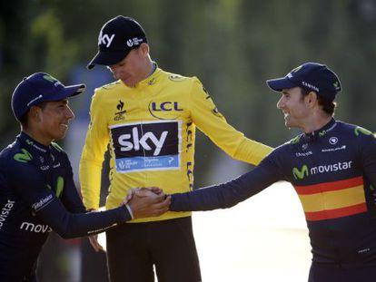 Nairo Quintana (I), Chris Froome y Alejandro Valverde, en el podio del Tour