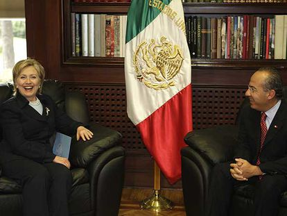 Clinton y Calderón, en la residencia oficial del presidente mexicano.