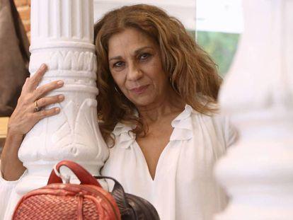 La actriz y cantante Lolita en Madrid, actuando como imagen de la firma Yacare.