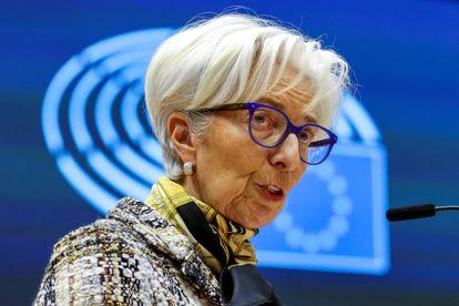 La presidenta del Banco Central Europeo, Christine Lagarde en una sesión plenaria del Parlamento europeo, el 8 de mayo de 2021, en Bruselas.