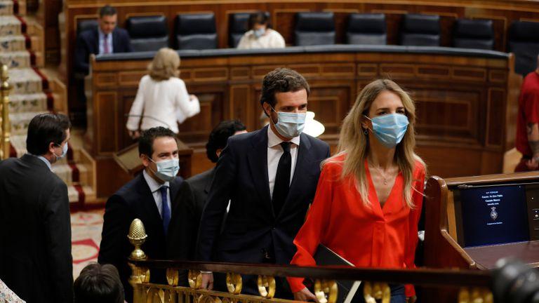 Álvarez de Toledo, Casado y García Egea, del PP, llegan al Congreso de los Diputados el pasado junio.