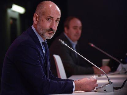 El Presidente del Athletic, Aitor Elizegi, este lunes en rueda de prensa para valorar la Asamblea del día anterior.
