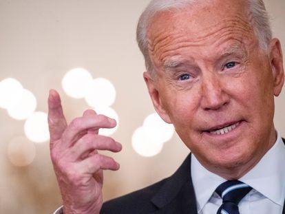 El presidente de EE UU, Joe Biden, comparece para hablar sobre del programa de vacunación en la Casa Blanca.