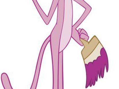 Un dibujo de la Pantera Rosa, legendario personaje de la animación.