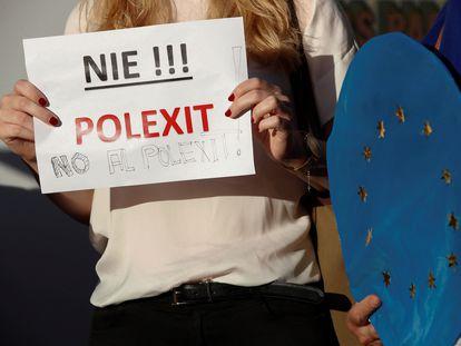 Manifestación en Madrid para reivindicar la permanencia de Polonia en la UE.