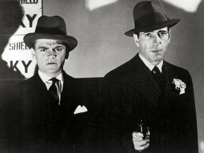 'Los violentos años veinte'. Director: Raoul Walsh. 1939.  Al lado de James Cagney, protagonista principal de la película, Humphrey Bogart seguía proyectando su lado más oscuro y perverso en la figura de un gánster y los tiempos de la ley seca como paisaje cinematográfico. El género de gánster teñido de belleza elegíaca.