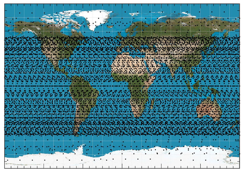 Ubicación de la constelación de satélites de Starlink según el estudio de la Sociedad Española de Astronomía.