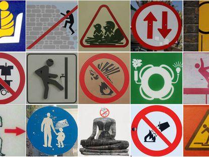 'Collage' con señales de España, Portugal, Reino Unido, Italia, Grecia, Tailandia, China y Japón.