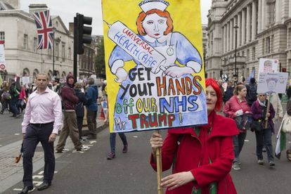 Protesta en contra de la visita de Donald Trump a el Reino Unido el 4 de junio de 2019 en Londres.