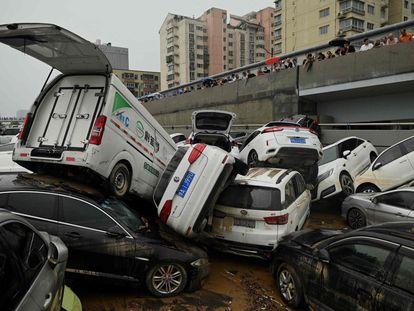 Consecuencias de un diluvio en la provincia de Henan, en el centro de China.