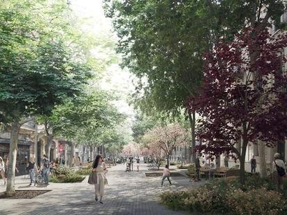 Recreación virtual de una de las futuras nuevas calles del Eixample de Barcelona.