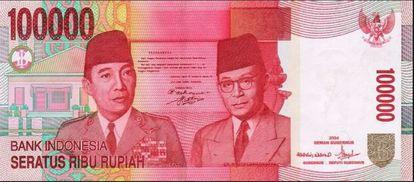 Billete de 100.000 rupias de Indonesia.